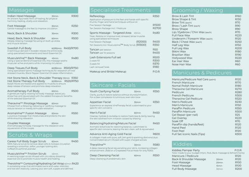 Caress Spa Menu Page 2